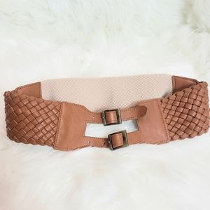 Double Buckle Stretch Back Faux  Front Wide Belt